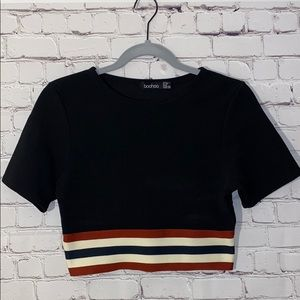 Boohoo Striped Crop Top